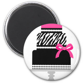 Zebra Diva Cake 6 Cm Round Magnet