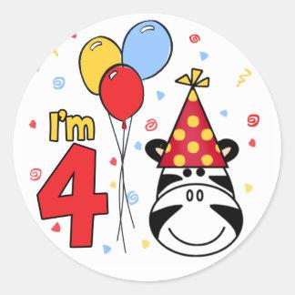 Zebra Face  4th Birthday Round Sticker