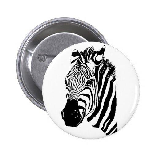 Zebra Face 6 Cm Round Badge