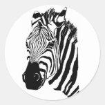 Zebra Face Round Stickers