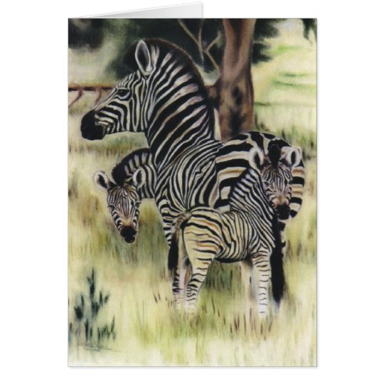 """Zebra Family"" Card"