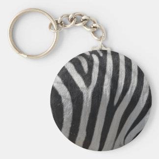 Zebra Faux Leather Basic Round Button Key Ring