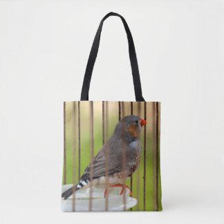 Zebra Finch Bird in Cage Tote Bag
