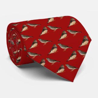 Zebra Finch Frenzy 2 Tie (Red)