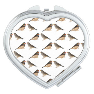 Zebra Finch Frenzy Compact Mirror (choose colour)