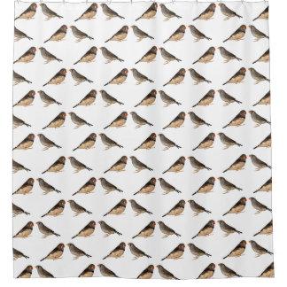 Zebra Finch Frenzy Shower Curtain (Choose colour)