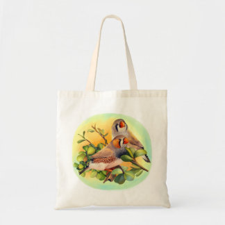 Zebra finches realistic painting budget tote bag