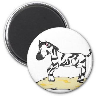 zebra foal 6 cm round magnet