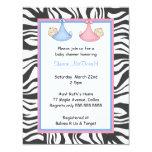 Zebra Frame Twins Baby Boy & Girl Shower Invite 11cm X 14cm Invitation Card