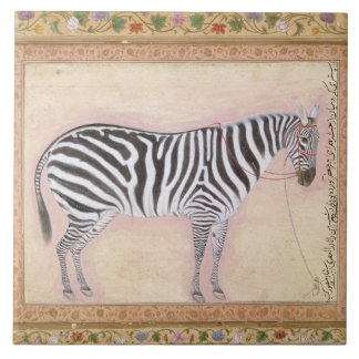 Zebra, from the 'Minto Album', 1621 (gouache on pa Tile