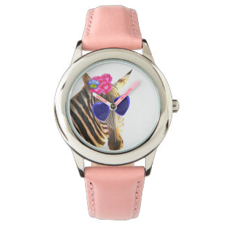 Zebra funny cute jungle animal girl child kids wristwatch