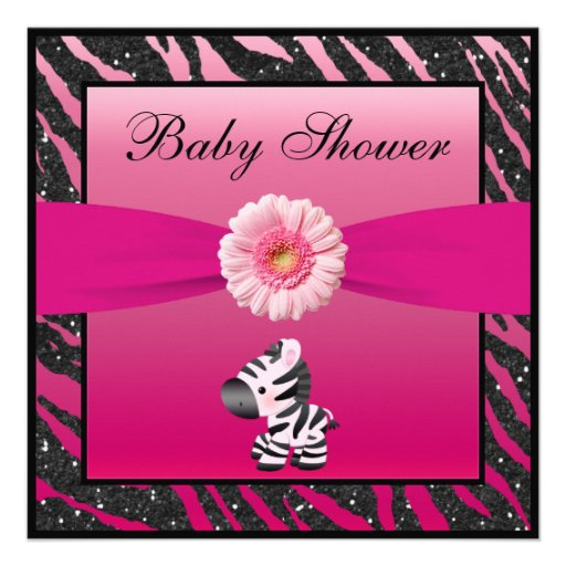 zebra gerbera animal print glitter baby shower 13 cm x 13 cm square