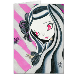 Zebra Girl And Pink Stripes Card