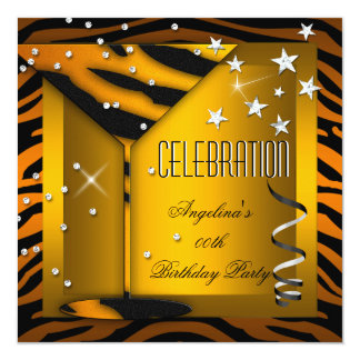 Zebra Glass Orange Gold Celebration Birthday Party 5.25x5.25 Square Paper Invitation Card