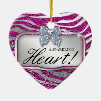 Zebra Glitter Heart Diamond Bow Cute Ceramic Heart Decoration