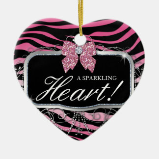 Zebra Glitter Heart Diamond Bow Cute Christmas Ornament