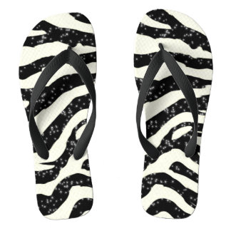 Zebra Glitter Stripes Animal Print Flip Flops