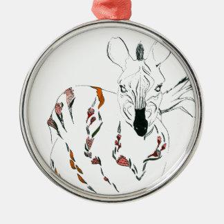 zebra goes floral christmas ornament