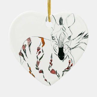 zebra goes floral christmas ornament