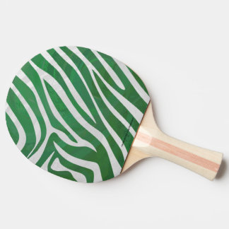 Zebra Green and White Print Ping Pong Paddle