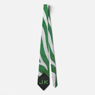Zebra Green and White Print Tie