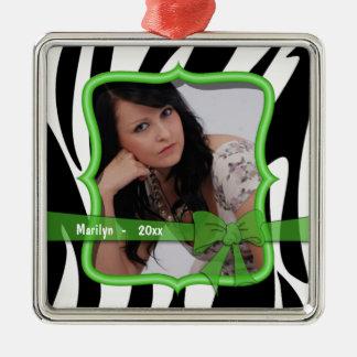 Zebra Green Bow Dated Photo Keepsake Ornament
