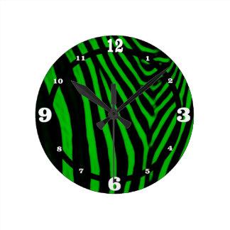 Zebra- Green Round Clock