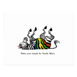 Zebra hands, raise your hands as zebra to support postcard