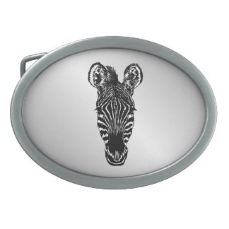 Zebra Head Oval Belt Buckles