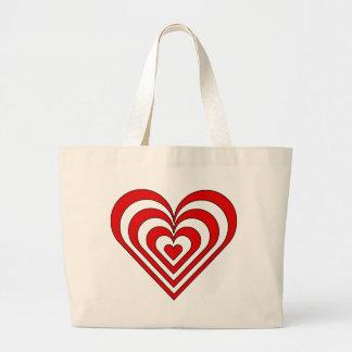 Zebra Heart Optical Illusion Tote Bags