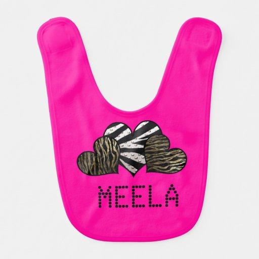 Zebra Hearts Adorable Customisable  Girl Bib