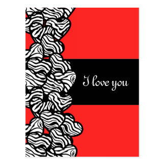 Zebra hearts Design 'I love you' Postcard Postcard