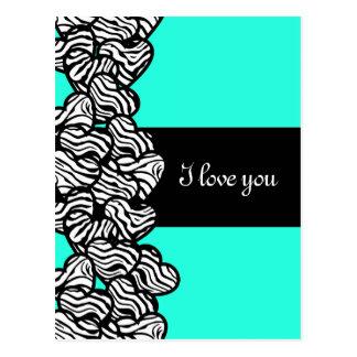 Zebra hearts Design 'I love you' Postcard Postcards