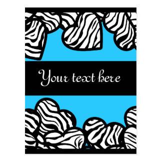 Zebra hearts Design Postcard Postcard