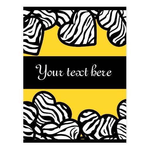 Zebra hearts Design Postcard Post Card