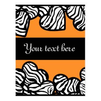 Zebra hearts Design Postcard Postcards