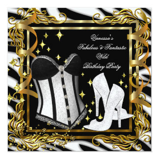 Zebra High Heel Gold Black Corset Birthday Party 5.25x5.25 Square Paper Invitation Card