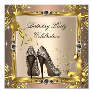 Zebra High Heel Shoes Coffee Brown Gold Party 2 13 Cm X 13 Cm Square Invitation Card