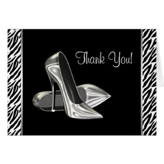 Zebra High Heel Shoes Thank You Cards