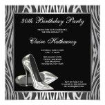 Zebra High Heel Womans 30th Birthday Party Personalised Invitation
