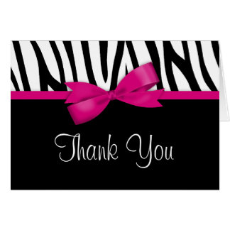Zebra Hot Pink Bow Thank You Note Card