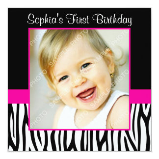 Zebra Hot Pink Girls Photo 1st Birthday Party Card