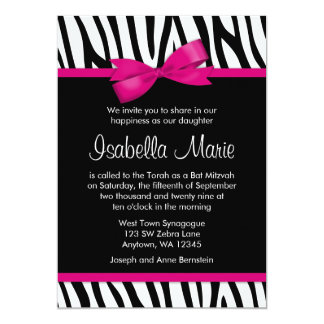 "Zebra Hot Pink Printed Bow Bat Mitzvah Invitations 5"" X 7"" Invitation Card"