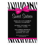 Zebra Hot Pink Printed Bow Sweet 16 Birthday Party 13 Cm X 18 Cm Invitation Card