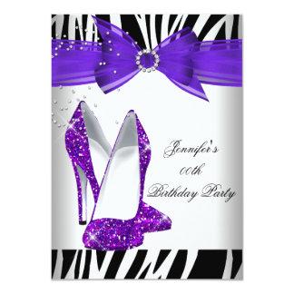 Zebra Hot Purple High Heel Black Birthday Party 4.5x6.25 Paper Invitation Card