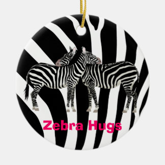 Zebra Hugs Christmas Ornament