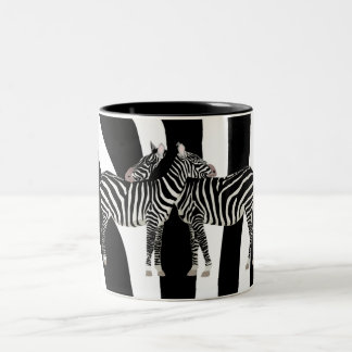 Zebra Hugs Two-Tone Coffee Mug