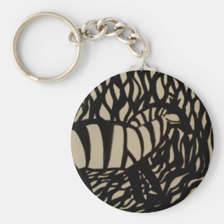 Zebra in camouflage basic round button key ring