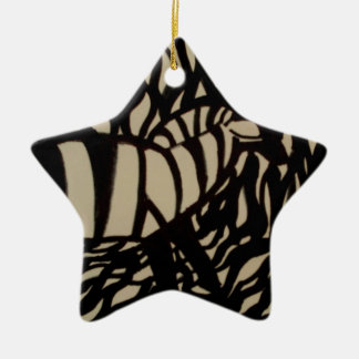 Zebra in camouflage christmas ornament