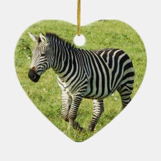 zebra in Serengeti.,Ngorongoro Crater Double-Sided Heart Ceramic Christmas Ornament